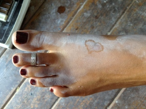 Heart on Mir's foot